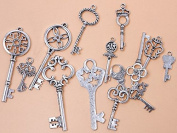 JGFinds 42 Pc Antiqued Silver Tone Skeleton Keys Mix - Findings, DIY Crafts, Jewellery Making, Steampunk & Charms