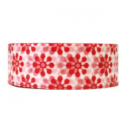 Wrapables Colourful Patterns Washi Masking Tape, Red Orbit Flowers