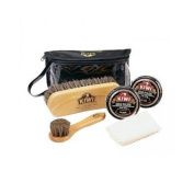 Kiwi Deluxe Shine Kit 2 Black Brush Buff Polish Wax Shine Shoe Boot Leather