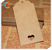 100pcs Kraft Paper Tags 4.0X9.0 Favour Lolly Heart Hollow Wedding Party Gift Bag Name Label+20M string