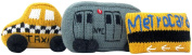 Estella Hand Knitted Organic Cotton Baby Toy NYC Gift Set, Taxi, Train, & Metrocard Rattles