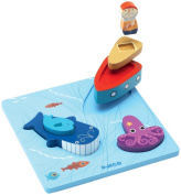 Djeco DJ01046 Wooden Puzzle- 1 2 3 Moby Puzzle