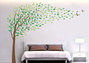 PopDecors - Flying in the wind-200cm H Custom Beautiful Tree Wall Decals for Kids Rooms Teen Girls Boys Wallpaper Murals Sticker Wall Stickers Nursery Decor Nursery Decals PT-0135-Colour