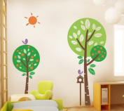 PopDecors - Sunshine In My Garden (180cm H) - Beautiful Tree Wall Decals for Kids Rooms Teen Girls Boys Wallpaper Murals Sticker Wall Stickers Nursery Decor Nursery Decals PT-0139-Colour