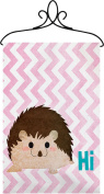 Manual Hi Hedgehog Chevron Nursery Wallhanging Bannerette w/ Rod SWHIHH 46cm x 33cm Pink Blue White Brown