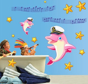 Dolphin Jump Pattern Starfish Happy Notes Lovely Waterproof Wall Decals Removable PVC DIY Wall Stickers Animal Decorations for Nursery Kids Room Living Room Colour Pink