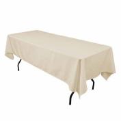 LinenTablecloth 150cm x 260cm Rectangular Polyester Tablecloth Beige by LinenTablecloth