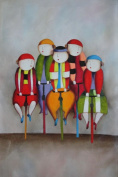 Cycling Circus Clowns 90cm x 60cm (Unstretched/Unframed), BeyondDream Oil Painting