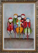 Cycling Circus Clowns Large Oil Painting, with Ornate Dark Gold Wood Frame 110cm x 80cm