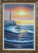 Lighthouse, Sea Waves, Cliffs, Seagulls at Sunset Large Oil Painting, with Ornate Dark Gold Wood Frame 110cm x 80cm