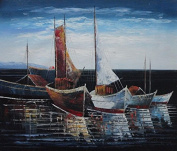 Sail Boats in Port 50cm x 60cm (Unstretched/Unframed), BeyondDream Oil Painting