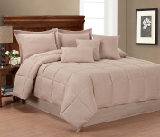 Pur Luxe 7 Piece Comforter Set, King, Taupe