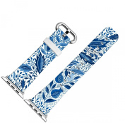 Iwatch Bands 38mm,Apple Watch Band Genuine Prime Elegant Leather Replacement For All iWatch With Silver Metal Adapter - Beautiful Blue Leaves On Your Bands
