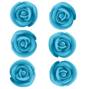 Bright Blue Royal Icing Roses