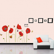 Corn Poppy Butterflies Wall Sticker Art DIY Home Decoration