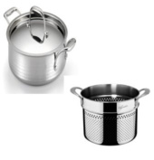 Lagostina Q5534864 Martellata Tri-ply Hammered Stainless Steel Dishwasher Safe Oven Safe Pastaiola Set with Lid and Pasta Insert Cookware, 5.7l, Silver