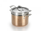 Lagostina Q5544864 Martellata Tri-ply Hammered Stainless Steel Copper Dishwasher Safe Oven Safe Pastaiola Set with Lid and Pasta Insert Cookware, 5.7l, Copper