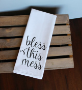 Bless This Mess Black Kitchen Towel