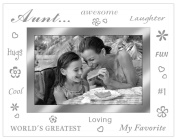 "Malden International Designs Bevelled Glass ""Treasures Aunt"" Metal Picture Frame, 10cm by 15cm , Silver"