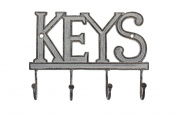 "Key Holder ""Keys"" - Wall Mounted Western Key Holder   4 Key Hooks  Decorative Cast Iron Key Rack  with Screws and Anchors - 15cm x 20cm - Ca-1506-04"
