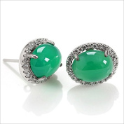 New Green Chrysoprase Stud Earrings Authentic Natural Fashion Simple and Easy for Women, 925 Sterling Silver