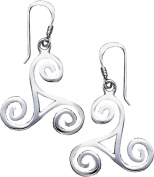 CGC Sterling Silver Celtic Spiral Triskele Knot Dangle Earrings