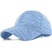 Light Blue_100% Polyester Glitter Baseball Cap Golf Hat Rhinestone