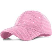 Pink_100% Polyester Glitter Baseball Cap Golf Hat Rhinestone