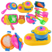 17PCs Play House Toys Small Chef Cooking Kitchenware Simulation Kitchen Cookware Utensils Toy Set