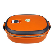 DZT1968® Orange Food Container Bag Single Stainless Steel Insulation Lunch Bento Box