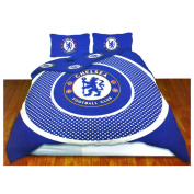 Chelsea FC Official Bullseye Reversible Duvet Cover Bedding Set (Full Bed)