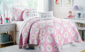 Authentic Kids Twin Size Reversible Quilt Pastel Fairies with Wings Wands Girls on Pink
