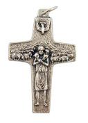 Good Shepherd Jesus Christ Crucifix 4.1cm Silver Tone Pope Francis Cross