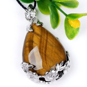 Top Plaza 1x Natural Tiger Eye Stone Teardrop Pendant Necklace, Dangle Bead for Necklace Making
