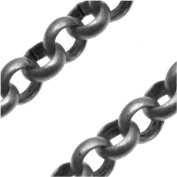 Gun Metal Plated Round Rolo Chain - 5.7mm Diameter - Sold By The Foot