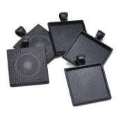 """40pcs Black Colour Square Pendant Tray Square Pendant Blanks Cameo Bezel Cabochon Settings - 1"""""""