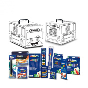 Dixon Prang Art Kit with School Bus Activity Box, Includes Markers, Crayons, Pencils, Pens and Watercolours, Assorted Colours