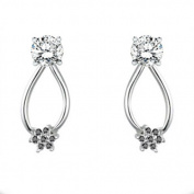 0.22 crt Black Cubic Zirconia Mounted In 10k White Gold Earring Jackets.