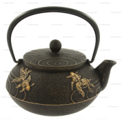 Happy Sales Cast Iron Black And Gold Goldfish Teapot