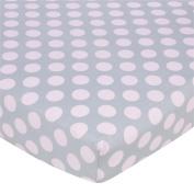 Gerber Knit Crib Sheet - Pink Dots on Grey