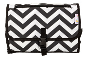 Portable Baby Changing Pad, Travel Changing Station with Newly Designed Pocket Holder for Baby Wipes, Pvc-free in a Black Chevron Pattern