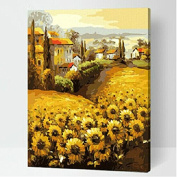 Drawing your painting, paint by number Sunflowers-Golden road 41cm X 50cm inches Frameless.