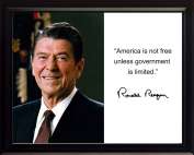 """Ronald Reagan """"America is not free"""" Quote Autograph 8x10 Framed Photo"""