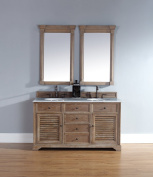 James Martin 238-104-5611-CAR Savannah 150cm Driftwood Double Vanity with Carrera White Stone Top