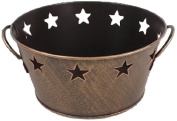 Craft Outlet Antique Gold Tin Bucket with Star Cutout, 19cm by 8.9cm