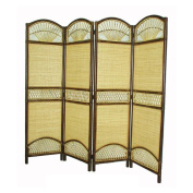D-art Collection Rattan Tropical 4 Panel Screen Divider