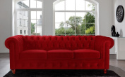 Classic Velvet Scroll Arm Tufted Button Chesterfield Style Sofa - Black, Red, Grey, Purple