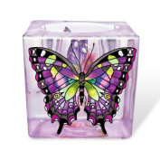 Amia Purple Swallowtail Butterfly Votive 7.6cm Hand Painted Glass