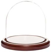 Plymor Brand Glass Doll Dome with Walnut Base - 14cm x 14cm