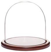 Plymor Brand Glass Doll Dome with Walnut Base - 20cm x 20cm